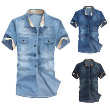 New Summer Men's Jeans Casual Slim Fit Stylish Wash-Vintage Denim Shirts