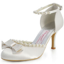 EP11067 Round-Toe Party Pumps Satin Bow Pearl Ankle Strap Bridal Court Shoes