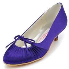 EP11120 Women Party Pumps Low Heel Almond Toes Bow Pleat Satin Wedding Shoes