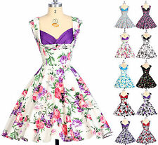 Women's Vintage 1950's 60s Style Floral Pleated Evening Pinup Swing Party Dress
