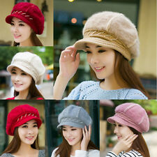 Winter Wool Hat Lady Warm Rabbit Fur Women Beret Baggy Beanie Crochet Knit Cap f