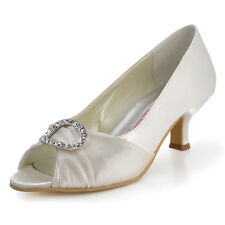 EP31009 Peep Toe Wrap Party Pumps Mid Heel Satin Rhinestone Wedding Dress Shoes