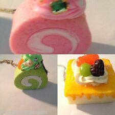 Kawaii Pink Green Swirl Cake & Sponge Treacle   cake necklace Squishies squisy