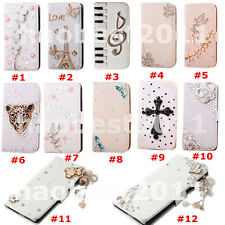 3D Bling Crystal Diamonds Pearls PU leather flip wallet pouch case cover skin  3