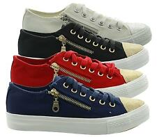 LADIES WOMENS GIRLS FLAT LACE UP PLIMSOLLS PUMPS GLITTER TRAINERS SHOES SIZE