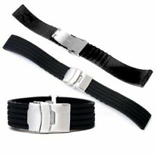 Waterproof Silicone Watch Band Black Rubber Buckle Wristwatch Strap Bracelet