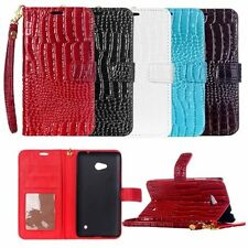 Folio Crocodile PU Leather Wallet Card Cash Holder Case Stand Cover For Phone