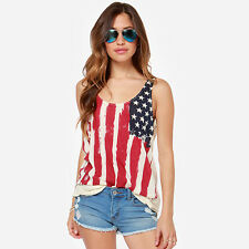 Women Sleeveless American Flag Print Camisole Vest Cute Tank Top Casual Shirt US
