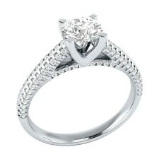 1.00 ct Real White Sapphire & Certified Diamond Solid White Gold Engagement Ring