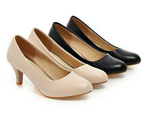 Womens Kitten Mid Heel Synthetic Leather Pumps Round Toe Shoes S151 US Sz4 -10.5