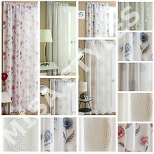 PLAIN VOILE NET CURTAIN PANEL ROD POCKET SLOT TOP FLORAL EMBROIDERED STARLIGHT