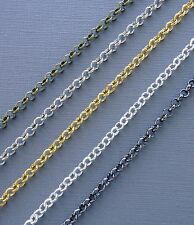 3ft Gold/silver/black Rolo Chains 4-5-6mm Link opened Findings Jewelry making