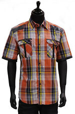 Mens New Knockout Blue Orange Plaid Button Up Shirt Cotton Trendy Short Sleeves