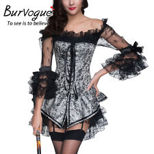 Gothic Victorian Custume Underbust Steampunk Corset Top Burlesque Fancy Dress