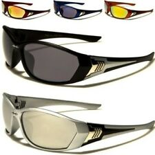 X-LOOP NEW MENS LADIES WOMENS BLACK MIRRORED WRAP SPORTS GOLF UV400 SUNGLASSES