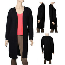 New Women's Waffle Duster Long Knit Cardigan Open Front Long Sleeves Sweater