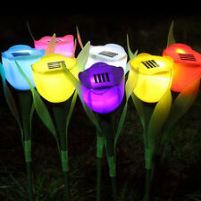 Fantastic Outdoor Garden Yard Solar Powered Path LED Light Tulip Landscape Lamps