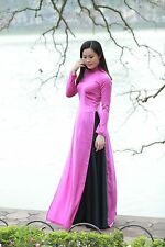 AO DAI Vietnam CUSTOM MADE, Pink Silk Dress & Black Satin Skirt, V Neck