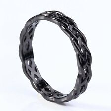 Black Celtic Knot Eternity Band 925 Sterling Silver ring Unique Jewlery