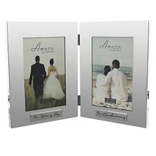 Amore Double Photo Frame - Our Wedding Day / Our Anniversary 25th 40th 50th 60th