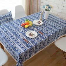 Elegant Blue Elephant Dinning Coffee Table Cotton Linen Cloth Covering O