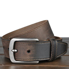 Vintage genuine cow leather Mens work Dress Casual Belt Waist Strap black coffee