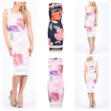 NEW WOMENS LADIES SLEEVELESS FLORAL PRINT MESH INSERT STRETCH BODYCON MIDI DRESS
