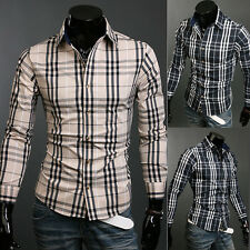 Luxury Mens Plaids Casual Shirt Slim Fit Stylish Dress Shirts Long Sleeve Tops W