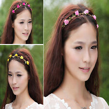 Luxury Rose Flower Head Chain Jewelry Hollow Elastic Wedding Hair Band Headband