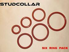 STUDCOLLAR-SILICONE-SINGLES - SIX Super Strong Red Rubber Penis Fun Rings