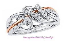 10K RAVISHING ROSE GOLD DIAMOND™ UNIQUE LOVELY DESIGNED DIAMOND RING .25CT