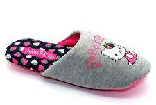 Hello Kitty Girls Strawberry Dip Grey Pink Fabric Slip On Padded New Slippers