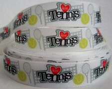 "GROSGRAIN I HEART TENNIS 7/8"" INCH RIBBON 1, 3, OR 5 YARDS**SHIPS FREE**"