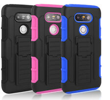 Shockproof Rubber Hybrid Rugged Holster Hard Clip Skin Case Cover For LG G5