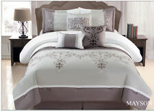 Taupe White Grey Floral 7 Pcs Embroidery Comforter Bedding Set