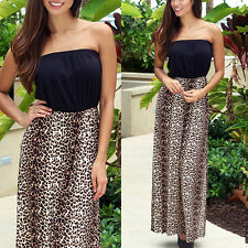 BOHO Hippy Women Summer Leopard Long Maxi Dress Beach Dress Sundress Party Dress