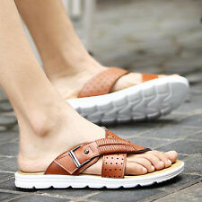 Mens Genuine Leather Flat Flip Flops Sandals Casual Summer Beach Slippers Shoes