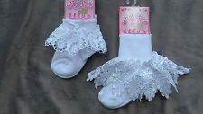 Pretty frilly baby girl white socks guipure lace special occasion christening