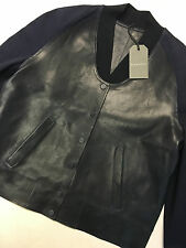 "ALL SAINTS WOMEN'S INK BLUE ""WINSOR"" LEATHER BOMBER JACKET COAT UK 8 10 NEW TAGS"