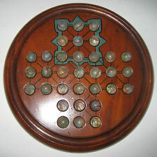 Vintage Wooden Solitaire Game with Vintage Coloured Glass Marbles.