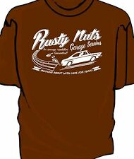 """""""Rusty Nuts Garage Services"""" t-shirt.    Fiat 124 Coupe"""