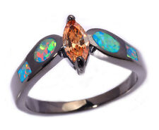 Rainbow Opal Morganite Jewelry Gems Silver & Black Gold Filled Ring Sz 7/8 LR454