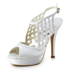 EP11063-PF White Peep Toes Slingback Buckles Cutout Satin Platform Wedding Shoes