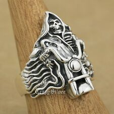925 Sterling Silver Fire Motorcycle Skull Mens Biker Ring 9W026C UK Size P½~Z1