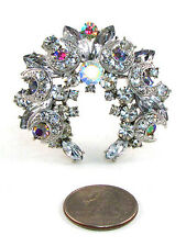 Silver Toned U Shaped Brooch With AB and Clear Stones