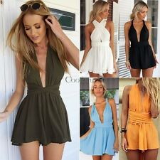 Lady Womens Backless Party Jumpsuit Sexy Mini Short Beach Dress Playsuit Romper