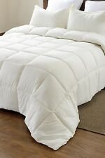 3pc Ivory Reversible Solid/Embossed Stripe Comforter Set with Pillow Shams