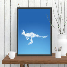 Kangaroo Cloud Print Poster Blue Sky Whimsical Wall Decor