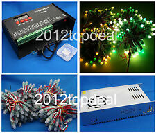 WS2811 12mm led RGB Pixels digital+T8000AC controller+5V 60A 300W POWER Kit