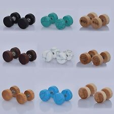 "Fake Ear Plugs-Ear Stud Earrings Wood Stone Ear Gauges Look ""0G 00G"" 6 PAIRS"